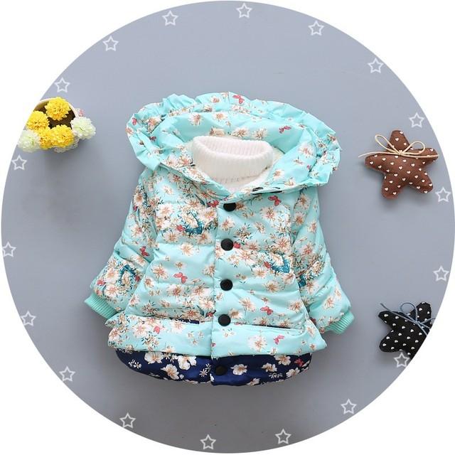 Quente Do Inverno Do Bebê Meninas Infantil Crianças Flora Além de Veludo Princesa Com Capuz Jacket Coats Outwears S4123 Presentes de Natal Roupas De Bebe