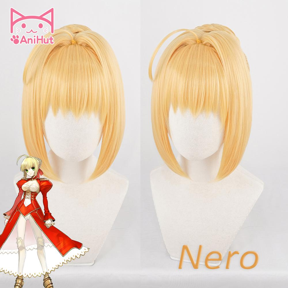AniHut Fate/EXTRA Nero Wig Fate Grand Order Cosplay Wig Synthetic Blonde Heat Resistant Hair Anime Fate Stay Night Cosplay Hair