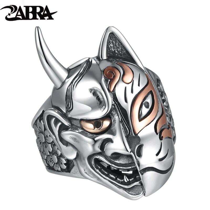 Zabra Твердые стерлингового серебра 925 Дьявол черепа Уход за кожей лица большой Кольца для байкеров Для мужчин властная стимпанк гиперболичес...