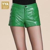Прямой крой брючин с запахом кожаные шорты женские повседневные осенне зимние на молнии из натуральной кожи Booty Шорты Зеленый Черный Дизайн