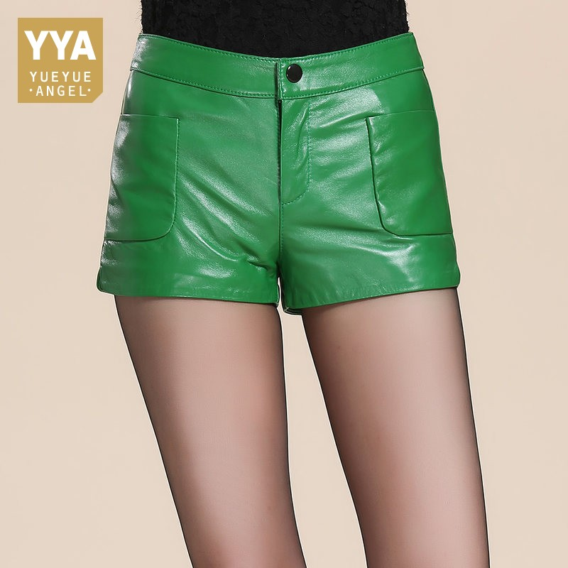 Straight Leg Wrap Leather Shorts Women Autumn Winter Casual Zipper Real Leather Booty Shorts Green Black Designer Solid Hot