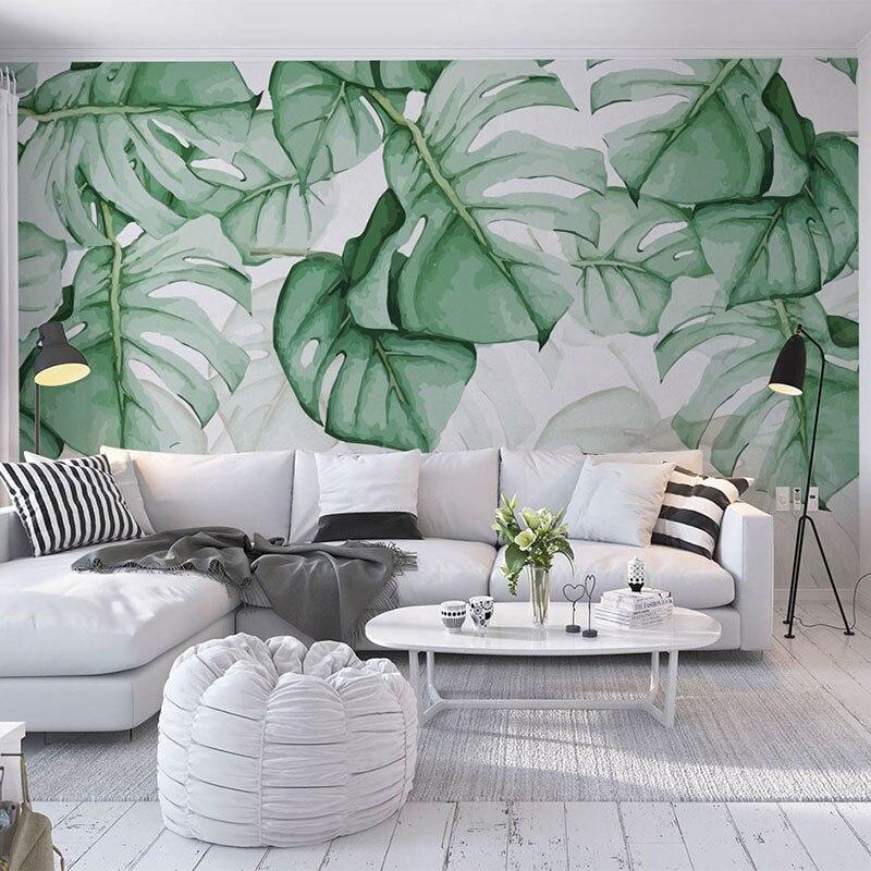 Custom Foto Tapete Moderne Tropische Pflanze Wand Malerei Wohnzimmer ...