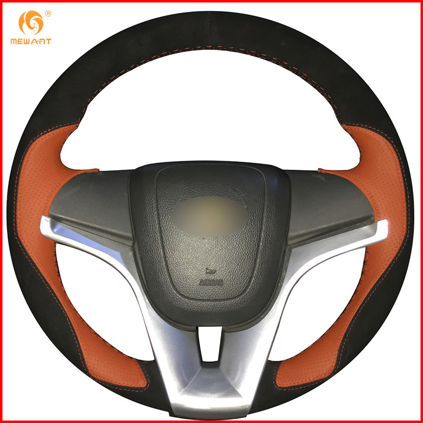 MEWANT Black Suede Orange Leather Car Steering Wheel Cover for Chevrolet Cruze 2009 2014 Aveo 2011