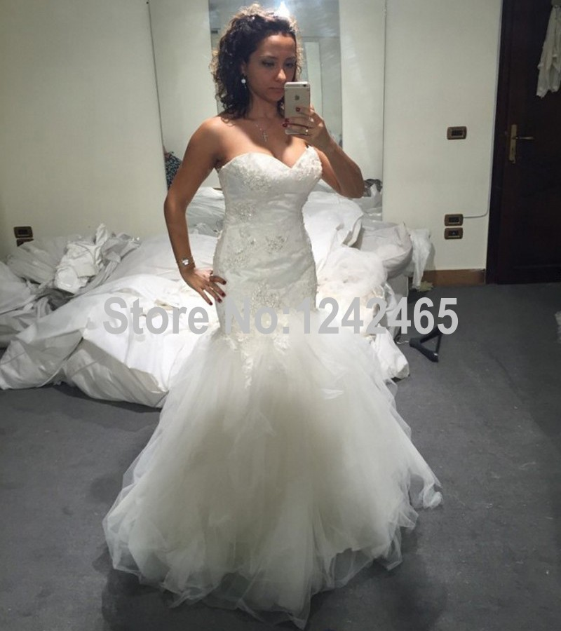 mermaid sweetheart appliqued hippie style wedding dresses sweep train tulle bridal gowns robe de