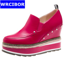 WRCIBOR 2017 Women's Pumps Genuine leather Platform Round toe High heels Slip-on leisure wedges Increased Internal Shoes Woman