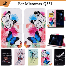 Painted Wallet Flip Case For Micromax Q351 PU leather Card Slot Stand bag High Quality Cover fundas with Strap