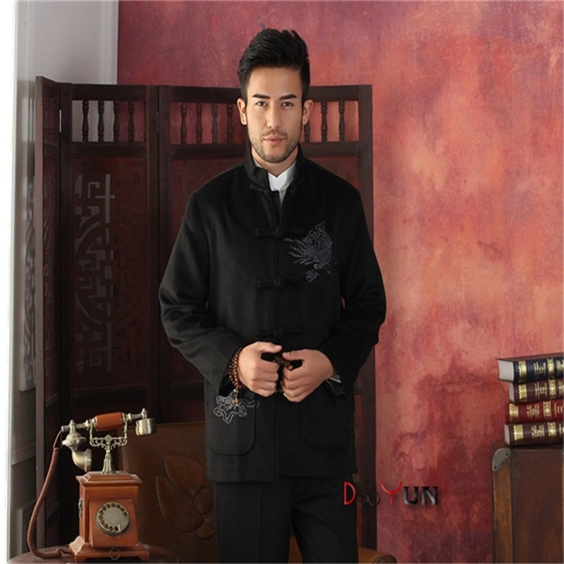New Black Winter Hottest Men Velour Thick Overcoat Chinese Traditional Embroidery Jacket Tang Suit Size M L XL XXL XXXL