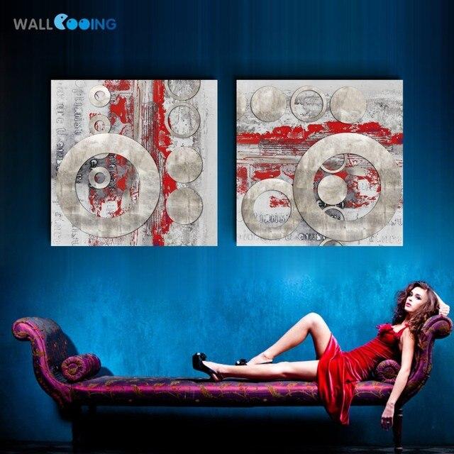 2 panel Abstrakte kunst farbe leinwand malerei Schwarz rot kreis ...