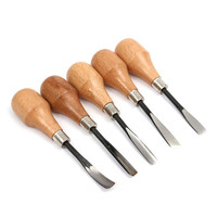 5pc Set Wood Carving Chisels Set Knife Butt Corner Skew Round Arc Machete Woodcut Woodworking Craft