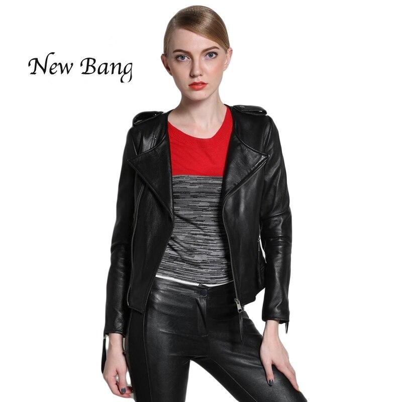 2016 New Fasion Spring Women Genuine Leather Jackets Sheepskin Black Zippers Long Sleeve Motorcycle Coat