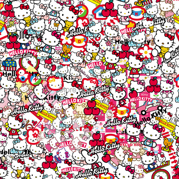 200x50cm Stickerbomb Hello Kitty Graffiti Car Vinyl Wrap Film Funny