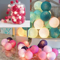 Mixed 20 cotton ball string lights for garden Wedding Party christmas Tree Fairy Light for Indoor atmosphere decor USB 110-220V