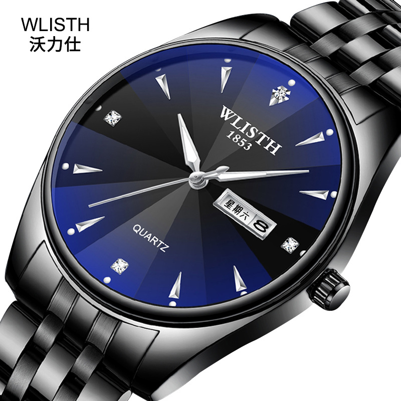 2019 WLISTH Top Brand Men Lady Watch Tungsten Steel Lovers Women Couple Chinese-English Calendar Quartz Clock Waterproof Watches