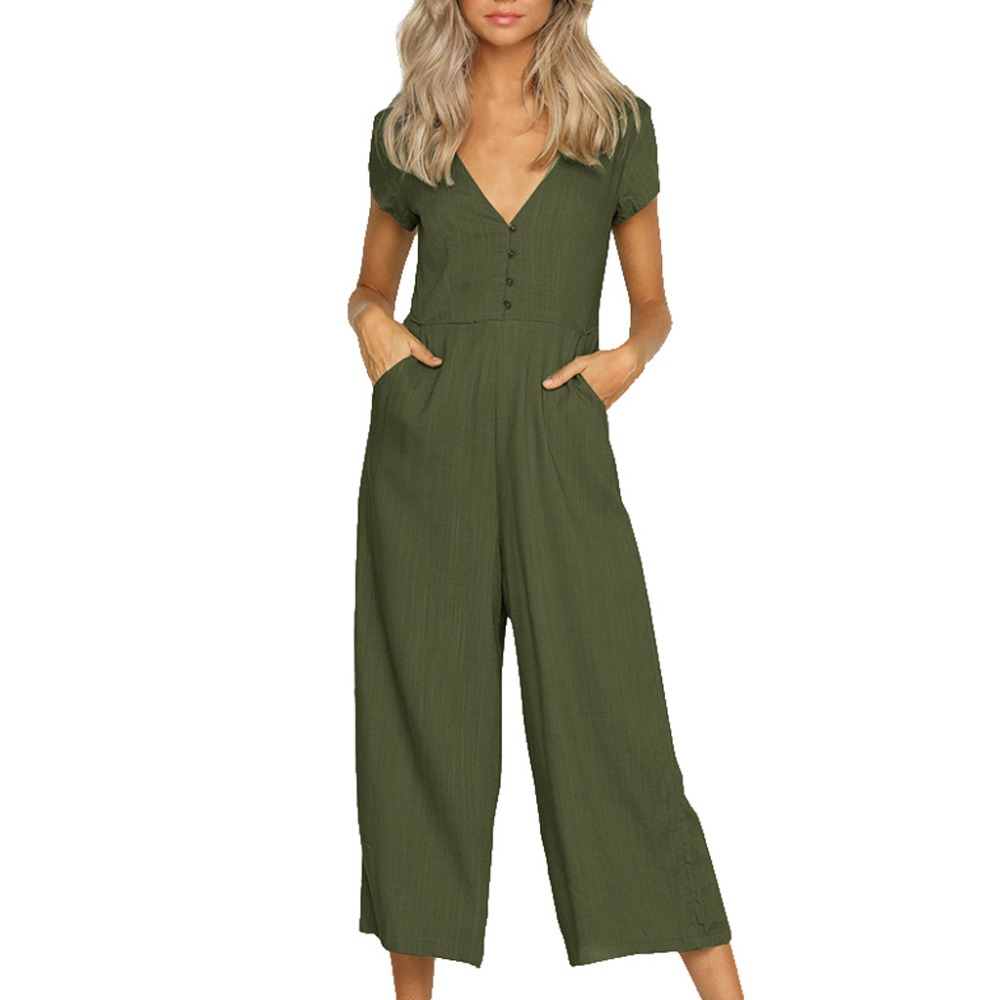Women Jumpsuits Short sleeved Solid Color Casual V-neck ladies jumpsuit romper Women Summer Straight pants Cotton and Linen *XSL