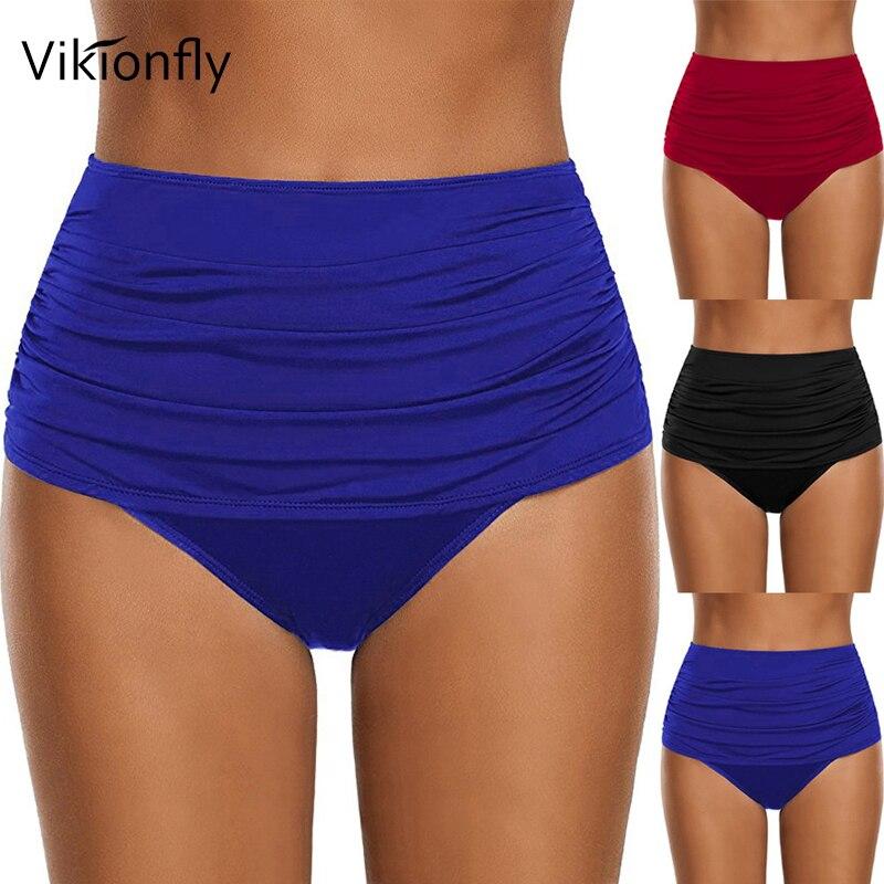Vikionfly Plus Size Women's Bikini Bottoms High Waisted Swimsuit Swimwear Panties For Ladies Ruched Swim Shorts Blue Black Red