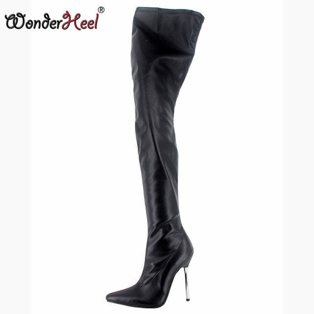 Thigh high leather boot and sex
