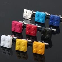 HYX Men Cufflinks Muti-color Bricks Design Blue Red Black 8 Colors Option Copper Novelty Cuff Links Wholesale&retail
