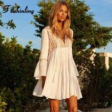 Fitshinling brodé bohème robe de plage femme vacances mince Sexy robes blanches femmes BOHO manches longues évasées une ligne paréos