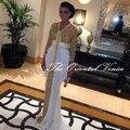 2017 Lentejuelas de Oro de Arabia Saudita Dubai Kaftan Vestidos de Noche Abaya En Dubai Kaftan Vestido de Fiesta Con El Tren Blanco Marroquí Caftán