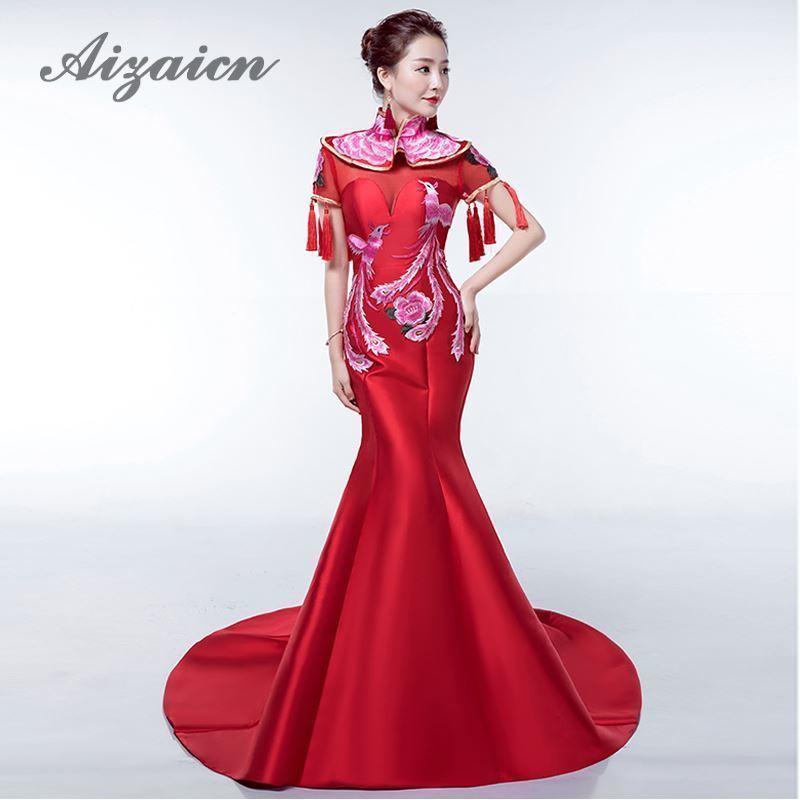 Red Mermaid Wedding Dress Cheongsam Satin Embroidery Phoenix  Qipao Long Traditional Chinese Bride Tassel Oriental Evening Gown