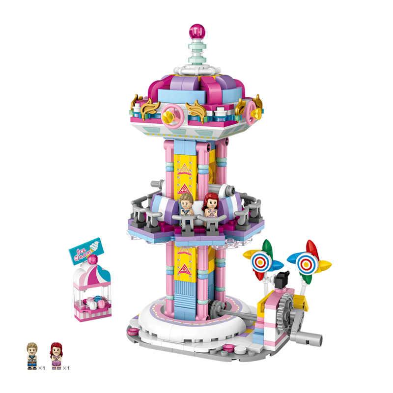 LOZ 1717 мини-блоки игровая площадка прыгающий аттракцион бампер автомобиля игрушки карусель пластиковые блоки Обучающие DIY архитектурная модель