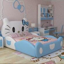Дизайн модный дизайн hello kitty розовая кожаная детская спальня для девочек