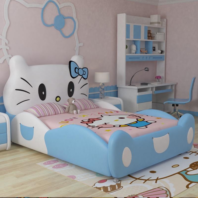 2017 neue design modren design hallo kitty rosa leder kinder schlafzimmer für mädchen