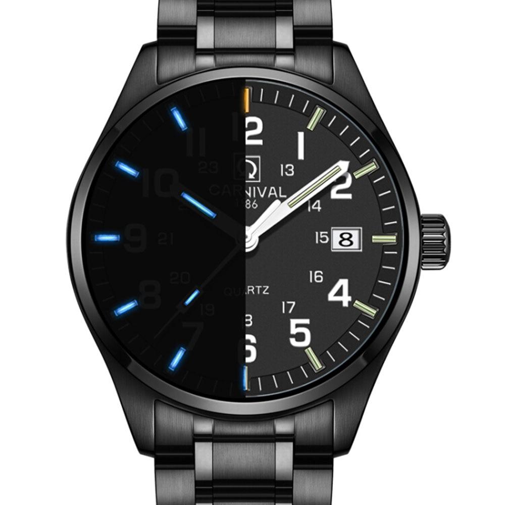 Carnival Brand Import Quartz Watch Men T25 Tritium Luminous Military Clock Waterproof Stainless Steel Sapphire Glass