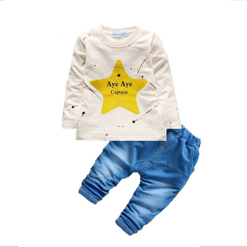 2017 spring baby clothing suit brand cartoon round neck childrens clothing pentagonal suit boys sports suit 0-2 year old childr