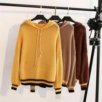 Plus size autumn women pullovers sweater 2018 yellow & Khaki & Brown drop shoulder sleeve hooded Knitted ladies sweater female