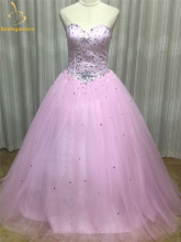 2015 New Elegant Sweetheart Ball Gowns Crystals Pink / Blue Soft Tulle Quinceanera Dresses Beaded For 15 Years QA166