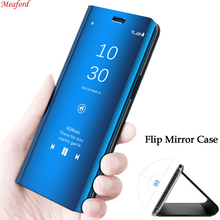 For Samsung Galaxy A50 Case Luxury Plating Mirror Cover PU Leather Flip Case For Samsung A50 6.4 Phone Case Smart Stand Coque цена