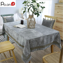 Luxury Nordic Gray Tablecloth Rectangle Geometry Both Side Flannel Table Covers Soft Banquet Wedding Home Decoration