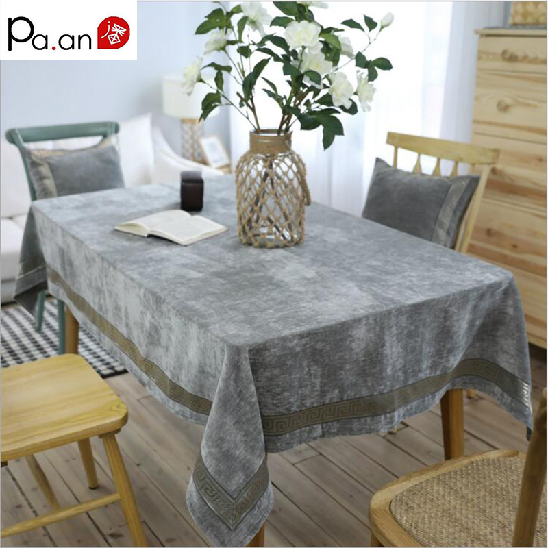 Luxury Nordic Gray Tablecloth Rectangle Geometry Both Side Flannel Table Covers Soft Banquet Wedding Home Table Decoration