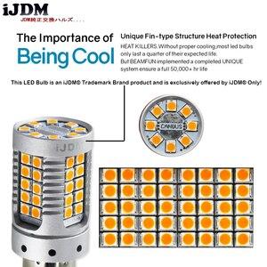 Image 4 - IJDM רכב 7440 LED לא Hyper פלאש אמבר צהוב 48 SMD 3030 LED T20 W21W 1156 7507 BAU15S LED נורות הפעל אות אורות, canbus