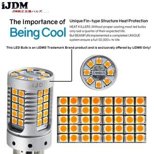 Image 4 - IJDM Auto 7440 LED Keine Hyper Flash Bernstein Gelb 48 SMD 3030 LED T20 W21W 1156 7507 BAU15S Led lampen Für blinker, canbus