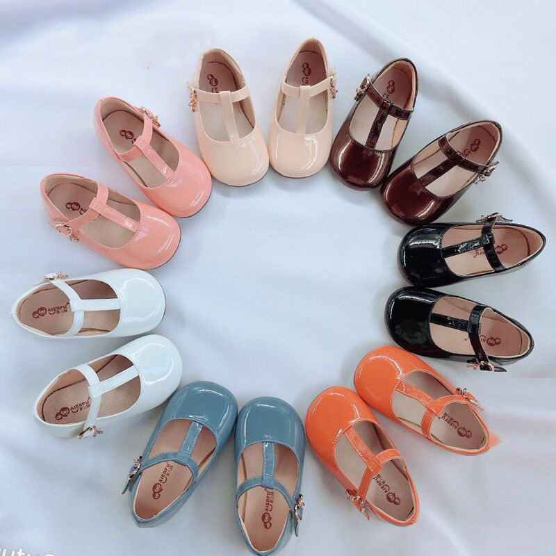 Fashion Girls Leather Shoes Candy Color Baby Girls Princess Shoes For Wedding Birthday Party Girls Patent Leather Shoes-in Leather Shoes from Mother & Kids
