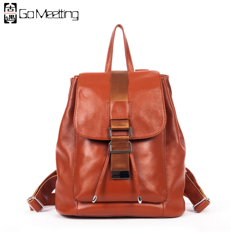 Go Meetting Women Genuine Leather Backpacks Brand Ladies Fashion Backpacks For Girls School Bags Real Leather Travel Backpack go meetting fashion women waterproof oxford backpack famous designers brand shoulder bag leisure travel backpacks for girl