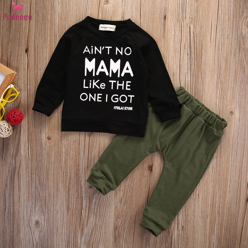 Pudcoco Fashion 2 Pcs Set For Toddler Baby Boy Clothes Kids Print Letter Autumn Long Sleeve T-shirt+Pants Outfits 0-3Y