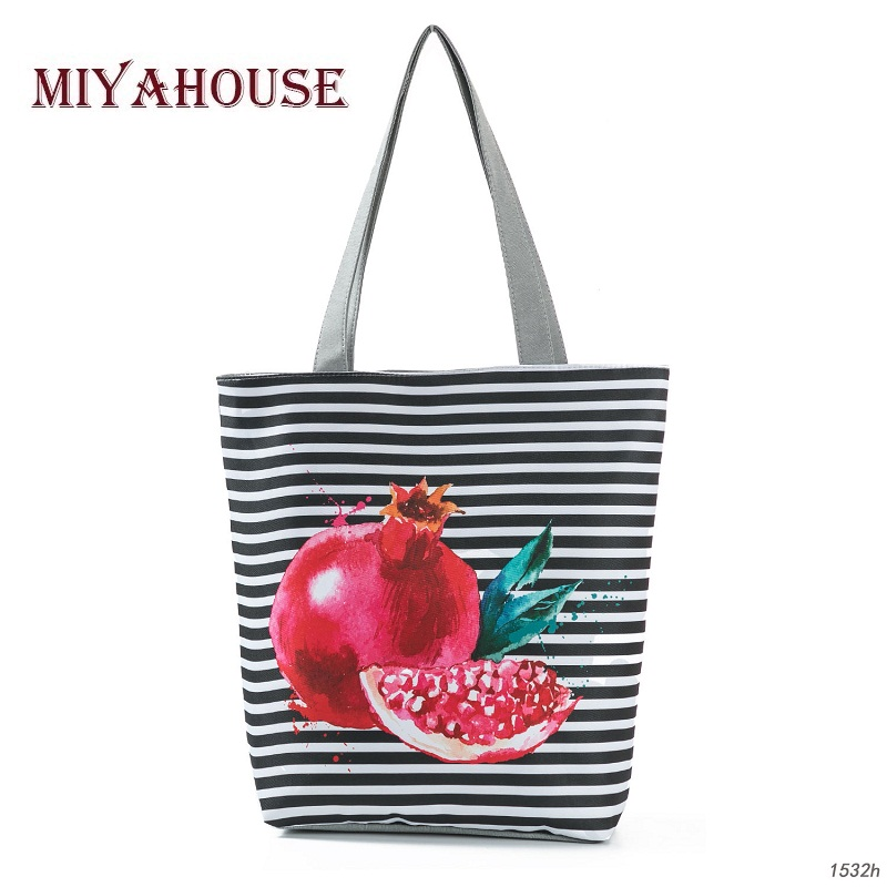Summer Fruit Design Shoulder Bags Striped Canvas Tote Bag For Female Beach Bags Portable Shopping Bag