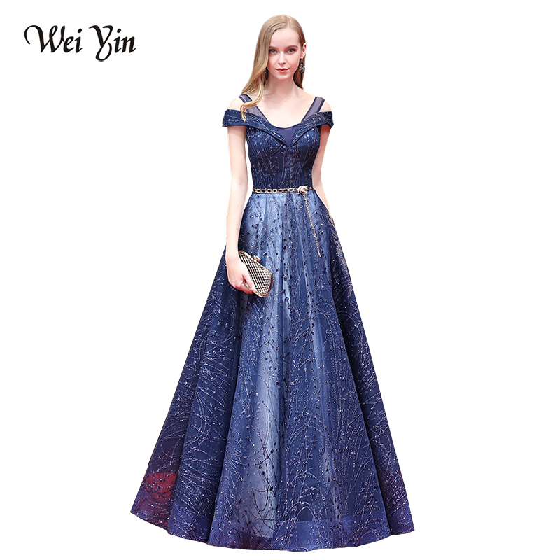 WeiYin 2018 Sexy V-Neck Evening Dresses Party on Sale A Line Prom Women Formal Evening Gowns Dresses Robe De Soiree Longue
