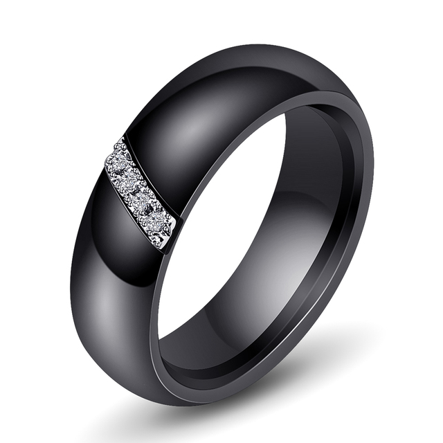 Unique Rings Women 6mm Black White Ceramic Ring For Women India Stone Crystal Comfort Wedding Rings Engagement Brand Jewelry