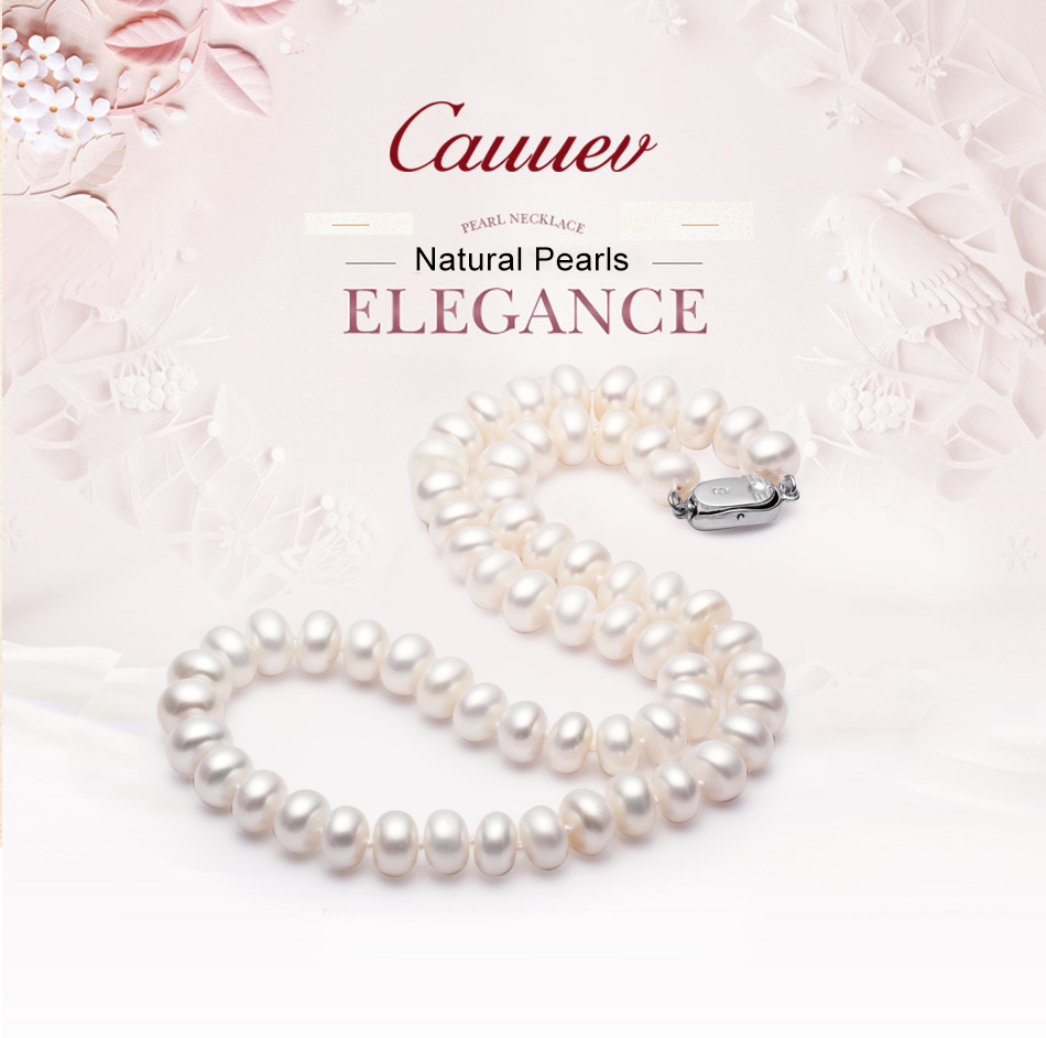 Cauuev Amazing price AAAA high quality natural  freshwater  pearl necklace  for women 3 colors8-9mm pearl jewelry pendants gift