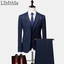 Мужские приталенные костюмы из 3 предметов, однобортный Блейзер, пиджак, брюки, жилет, темно-синий, черный, плюс размер, M-6XL, Осень-зима, свадебное платье, T217