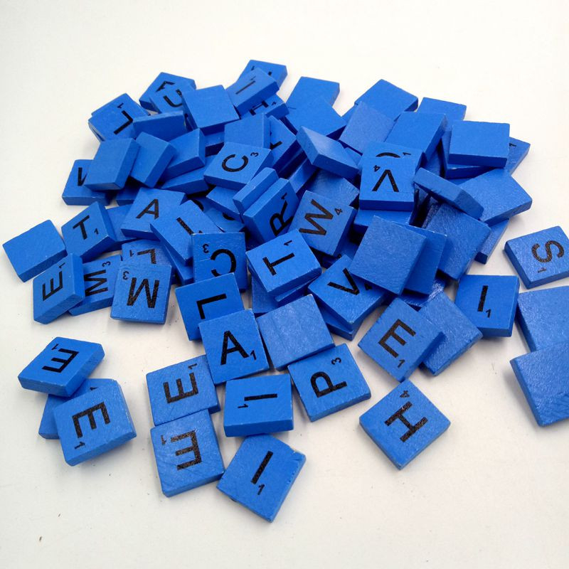 Blue 100 Wooden Scrabble Tiles Black Letters Numbers For Crafts Wood Alphabets Good For Child Educational Learning Drop Ship 30#