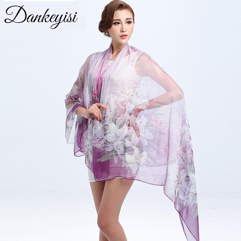 DANKEYISI Designer 100% hedvábný šátek ženy šátek luxusní značky ženy květinové módní pláž šátek šátek 175 * 110cm doprava zdarma