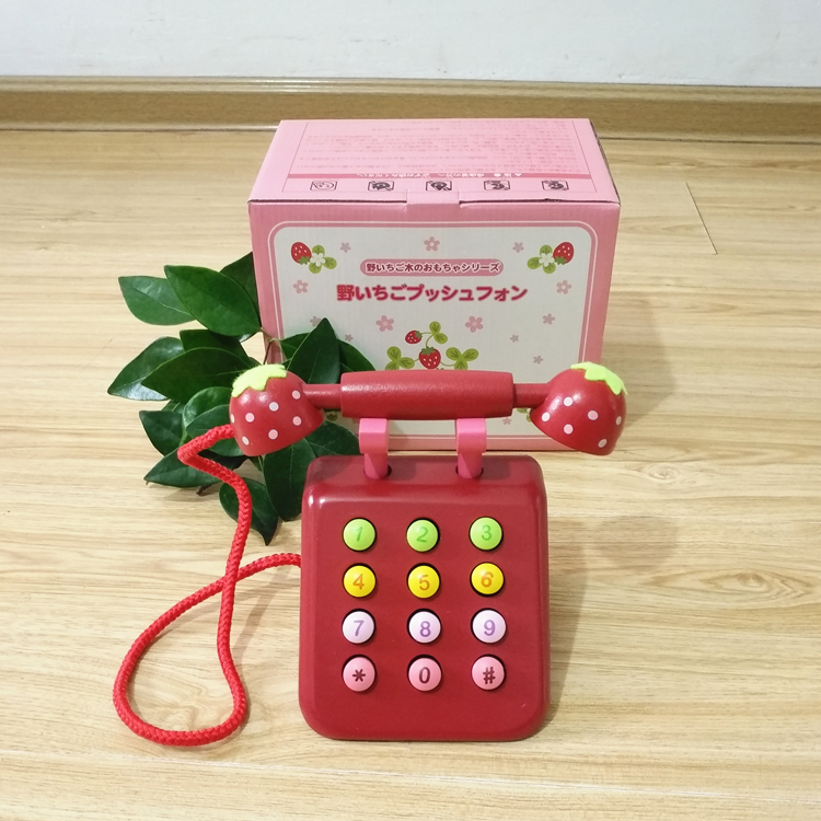 Baby Toys Strawberry Wooden Telephone Toys Children Wooden Toys Play House Birthday Gift Girl Boy