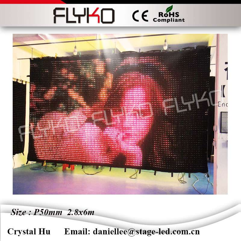 Flyko New Design High Quality Led Video Curtain Sexy Show Soft Led Video Curtain P50mm 2 8x6m In Stage Lighting Effect From Lights Lighting On