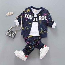 아기 소년 의류 세트 코튼 봄 가을 코트 + 바지 + 티셔츠 3 pcs 어린이 겉옷 아이 옷 정장 신생아 복장 1 4