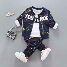 Bebê menino conjunto de roupas algodão primavera outono casaco + calças + camiseta 3 pçs crianças outerwear crianças terno roupa recém nascido 1 4